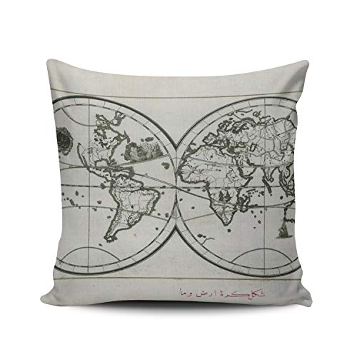 (WEINIYA Home Custom Decor Oil Painting World Map in Double Hemisphere Throw Pillow Cover Exquisite Double Sides Printed Patterning Square 24x24 Inches)