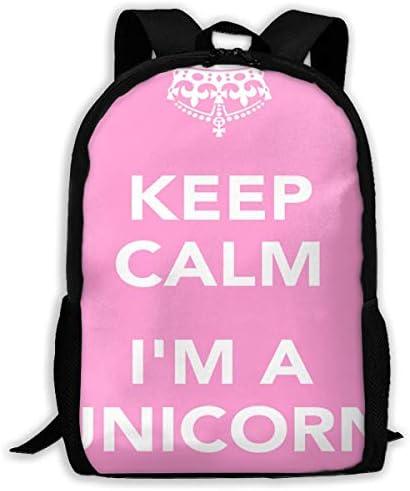 NA Rucksack Keep Calm I'm A Unicorn Pink Reißverschluss Schulbuchtasche Daypack Reiserucksack Gym Bag für Herren Damen