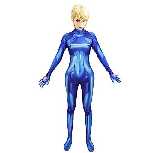 Hotcostyle Metroid Samus Zero Siamese Tights Blue 3D Digital Print Samus·Aran Jumpsuit Cosplay Coverall