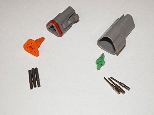 Deutsch DT Series 3 Pin Connector Kit w/Barrel Style Terminals 16-20 AWG ()
