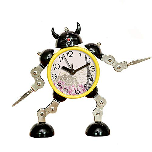 (GIRLSIGHT1 Alarm Clock for Decoration, Robot Cute&Fun, to Move/Twist Legs & Arms for Many Poses, Flashing Eye Lights and Hand Clip-043.Background, Vintage, Eiffel, Flower)