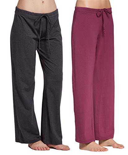 CYZ Women's Casual Stretch Cotton Pajama Pants Simple Lounge Pants-CharcoalBordeaux2PK-2XL