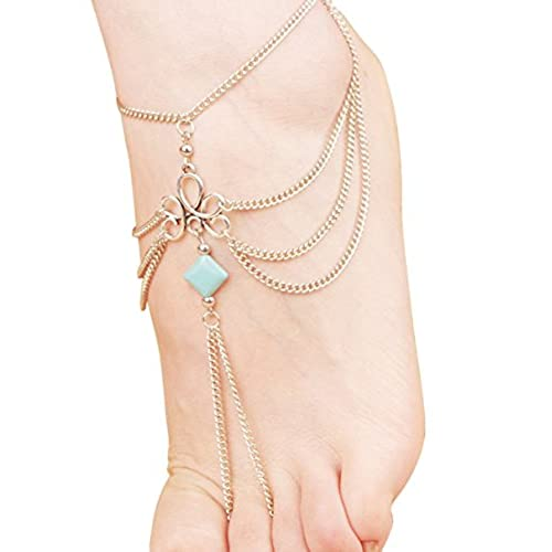 Ethel Women's Turquoise Beads Beach Barefoot Toe Chain Link Foot Anklet