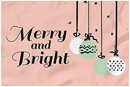 CGSignLab Merry and Bright Peach Wind-Resistant Outdoor Mesh Vinyl Banner Holiday Decor 9x6