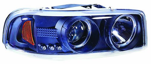 IPCW CWS-609B2 Clear Projector Headlight with Rings and Black Housing - Pair