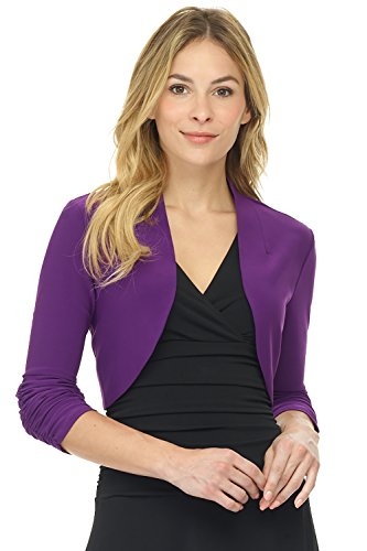 Rekucci Women's Chic Soft Knit Stretch Bolero Shrug with Ruched Sleeves (Large,Grape)