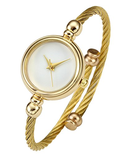 Top Plaza Womens Fashion Gold Tone Analog Quartz Bangle Cuff Bracelet Wrist Watch, Simple Elegant Stainless Steel Wire Band, 6.8 inches(White Dial) (Thin Cuff Watches)