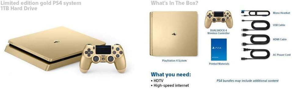 PlayStation 4 (PS4) - Consola De 500 GB, Color Dorado + 2 Mandos ...