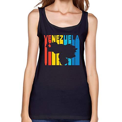 Rej13k@top Women Vest Comfy Venezuela Retro 1970's Style Cotton Tops Black ()