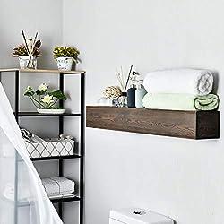"WELLAND 6"" High Dylan Rustic Floating Shelf Reclaimed Wood Wall Shelf Fireplace Mantel Shelf Wall Mounted,Walnut Color by WELLAND"