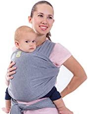 KeaBabies Baby Wrap Carrier All-in-1 Stretchy Baby Wraps - Baby Sling - Infant Carrier - Babys Wrap - Hands Free Babies Carrier Wraps Great Baby Shower Gift, Classic Grey