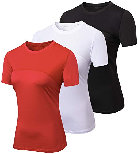 Lavento Women's Compression Shirts Crewneck Short-Sleeve Athletic T-Shirts (3 Pack-2023 Black/White/Red,Large) ()