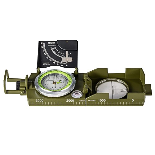 BNISE Military Marching Compass - Waterproof and Shakeproof - Army Pocket Size - Easy Map Navigation Survival & Mapping Gear - for Outdoor, Camping and Hiking (X-Large, Military(Multifuntion))