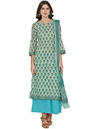 45b4e57d84 Sea Green Kota Doria Cotton Salwar Kameez Dupatta Set k314