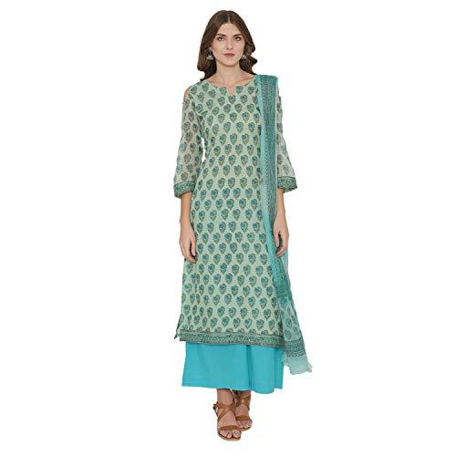 PinkShink Sea Green Kota Doria Cotton Salwar Kameez Dupatta Set k314 - Salwar Suit Cotton