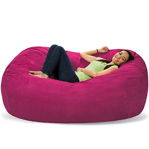 Comfy Sacks 6 ft Lounger Memory Foam Bean Bag Chair, Magenta Micro Suede (Magenta Bean Bag)