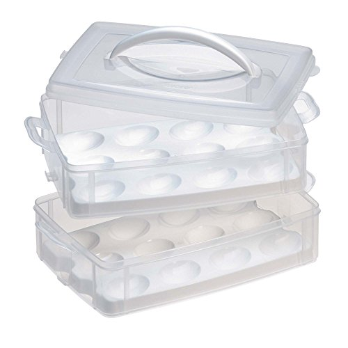 Snapware 1098734 Snap 'N Stack 2-Layer Food Storage Container with Egg Holder Trays, Medium Clear