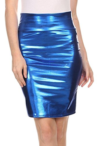 Brillant Jupe Bleu Fast Taille Mtallique Mtallique Royal Cuir PVC Liquide Midi Crayon Humide Fashion Haute Femmes Regard xF0wqpxU