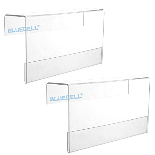 BCP 2PCS Clear Color 7-1/8 x 3-7/8inches Acrylic Office Screen Name Badge Holder/ Cubicle Nameplate Holder Fit for CubicleWall Thickness Less 1-3/4inches - Clear Name Plate Holder