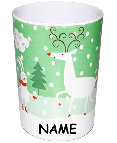 Trinkbecher // Zahnputzbecher // Malbecher 350 ml Tiere mit Weihnachts /& Wintermotiven incl Name Becher Trinkglas aus Melamin .. alles-meine.de GmbH 1 St/ück /_ 3 in 1