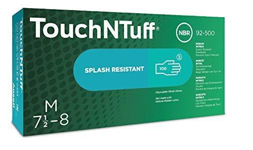 Ansell Touch N Tuff 92-500 Nitrile Glove, Chemical Resistant, Powdered, Disposable, Rolled Beaded Cuff, 9.5'' Length, 5 mils Thick, Medium (Pack of 100) by Ansell (Image #1)