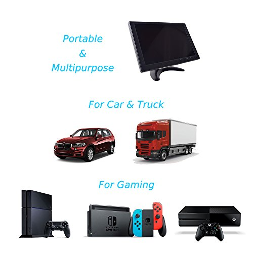 Gaming Monitor, 10.1 inch HD TFT for NES SNES PS3 PS4 Xbox PC Nintendo Switch Car Backup System 1280x800 IPS LED Screen DC 12V MP5 Media Player Built-in Speaker HDMI VGA AV USB Video input by EKYLIN (Image #5)