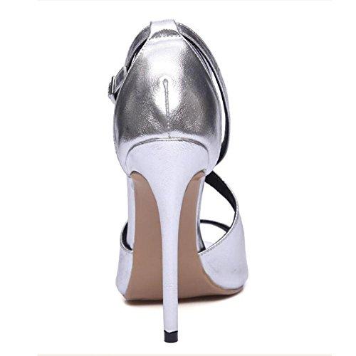 5f115417be08 L YC Frauen High Heels Fisch Mund mit feinen 12cm Wölbung Große Größe Tanz  Sandalen ...