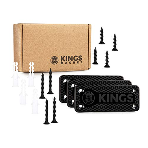 KINGS Magnet Magnetic Gun Mount: 43 lb Rated Gun Magnet Mount - Magnetic Holster for Handgun, Pistol, Rifle, Revolver,  Shotgun - Concealed Gun Holder for Car, Truck, Desk, Wall, Safe, Bedside 3 Pack