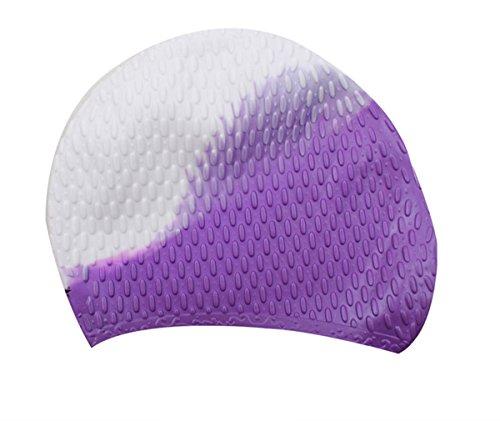 Butterme Premium Silikon Badekappe für Männer, Frauen und Kinder - die beste Bademütze für langes Haar zu halten Haar Trockenes (Weiß+Lila)