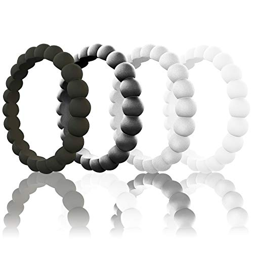 Stack Look Ring - Egnaro Silicone Wedding Rings for Women, Thin and Stackble Rubber Wedding Bands,Size 3-10,Comfortable fit,No-Toxic,Skin Safe