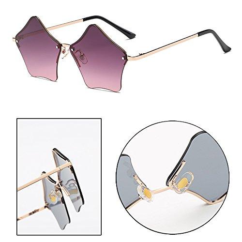 D'étoile Lunettes Rétro Femmes Non polarisé La Soleil De violet Forme À Or Zevonda Mode Design SHwRpHq5