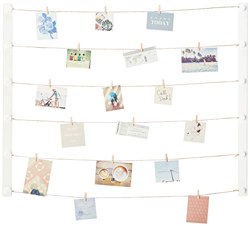 Umbra Hangup DIY Picture Frames Collage Set Includes Wire Twine Cords, Natural Wood Wall Mounts and Clothespin Clips for Hanging Photos, Prints, and Artwork Extra-Large White (Set Frame Collage)