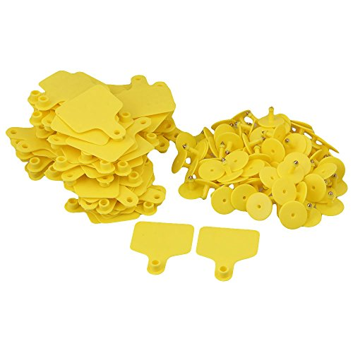 Cattle Ear Tags (BQLZR Cow Cattle Blank Large Livestock Ear Tag With Yellow Color Pack Of 100)