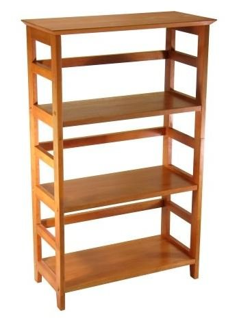 K&A Company 4-Tier Shelf Wood Bookcase Storage Bookshelf Shelving Shelves Home Display in Honey Finish