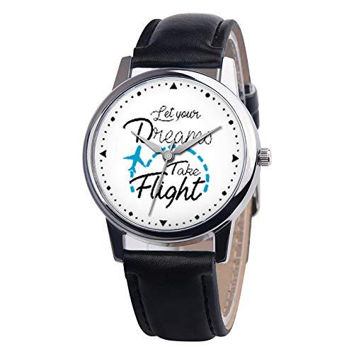Relojes De Pulsera De Cuarzo para Niña Frases Decorativas En Inglés Patrón Reloj De Cuero De PU Redondo Negro: Amazon.es: Relojes