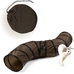 """PAWZ Road Cat Toys S Way Cat Collapsible Tunnel for Fat Cat Upgraded Version 12"""" Diameter Brown"""
