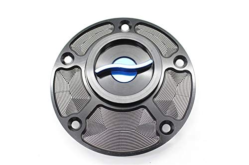 XuBa Motorcycle CNC Aluminum Fuel Tank Cap Cover Decorate Guard Protector Blue Blue Aluminum Fuel Tank Guard