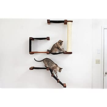 CatastrophiCreations Cat Mod Deluxe Fort Handcrafted Wall Mounted Cat Tree  Shelves, Onyx/Black,