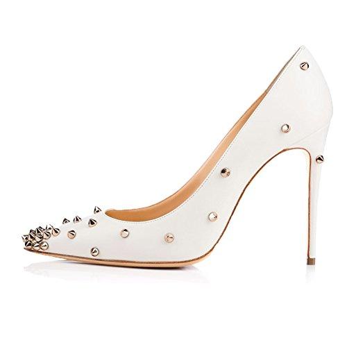 KJJDE Tacón Sandalias De 7192 34 Fiesta De Mejorar Alto La Zapatos Mujer Moda Baile Puntiagudo Dedo Tacón White TLJ Sexy Alta fEIqrwf