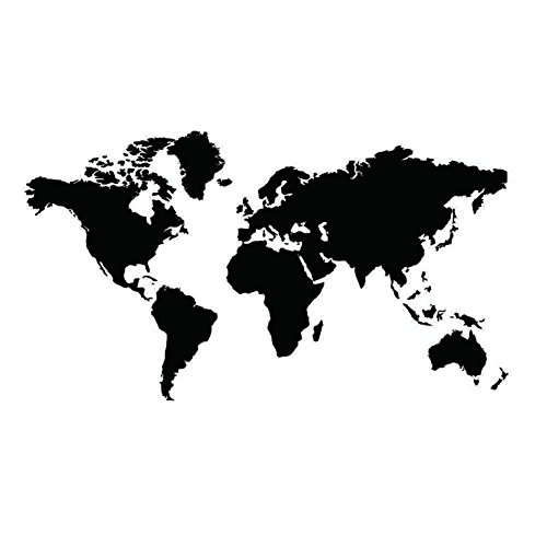 Black Map of the World Wall Sticker Decal Vinyl Art Sticker Home Decor (Betty Boop Halloween Wallpaper)