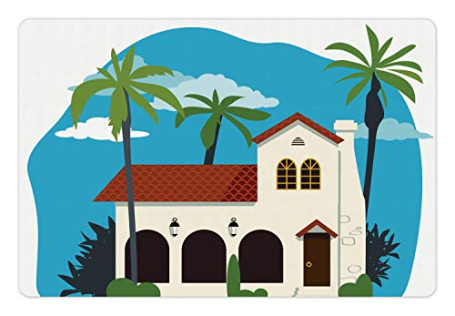 Ambesonne Spanish Pet Mat for Food and Water, Old Fashioned Mediterranean Cottage House with Palm Trees Latin Architecture Print, Rectangle Non-Slip Rubber Mat for Dogs and Cats, ()