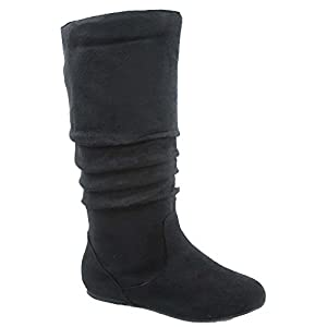 Top Moda Data-1 Women's Shoes Cute & Comfort Round Toe Flat Heel Slouchy Mid Calf Boot (6.5, Black)