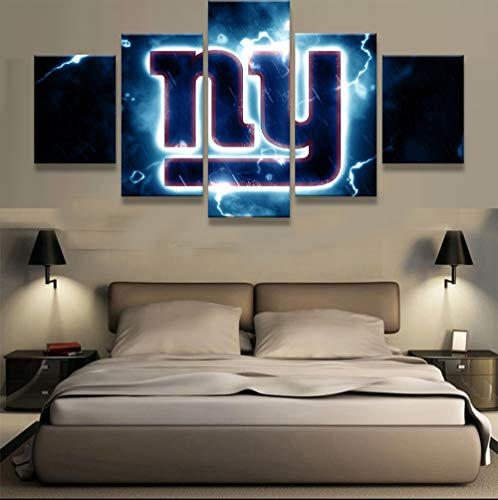 PEACOCK JEWELS [Large] Premium Quality Canvas Printed Wall Art Poster 5 Pieces / 5 Pannel Wall Decor New York Giants NY Logo Painting, Home Decor Pictures - Stretched]()