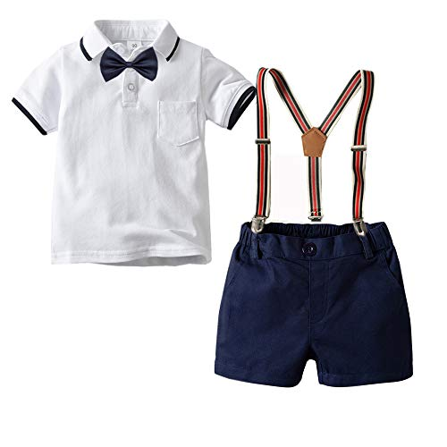 Carlatar Little Boys Gentleman Outfits Suits,Baby Boys Short Sleeve Shirt Set,Polo Shirt+Suspender Short Pants+Bow Tie 4Pcs (White, 110/4-5Y)