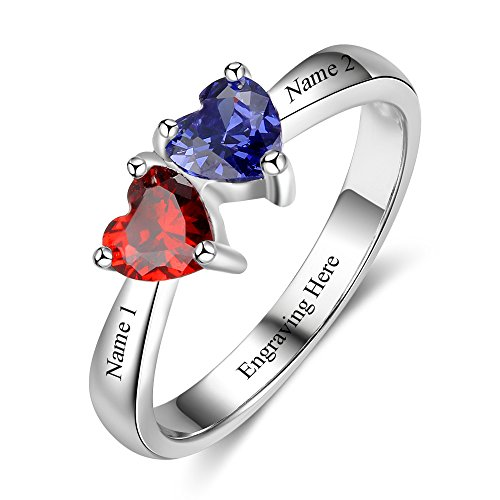 Love Jewelry Personalized Mother Rings with 2 Heart Simulated Birthstones Custom Engagement Ring Promise Rings for Her (Couples Birthstone Ring)
