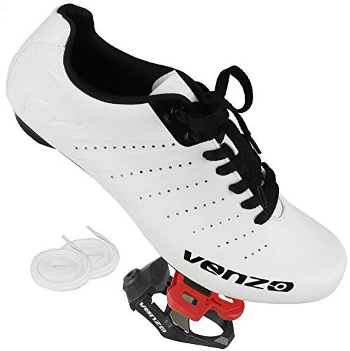 Venzo Bicycle Mens Lace Road Cycling Shoes KEO Pedals Cheats 48
