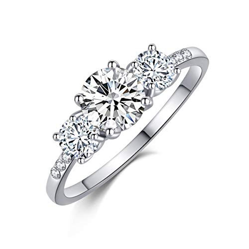 SR Womens 18k White Gold Platinum-Plated Sparkling Cubic-Zirconia Wedding Engagement Ring Valentine's Gift Size 6-9