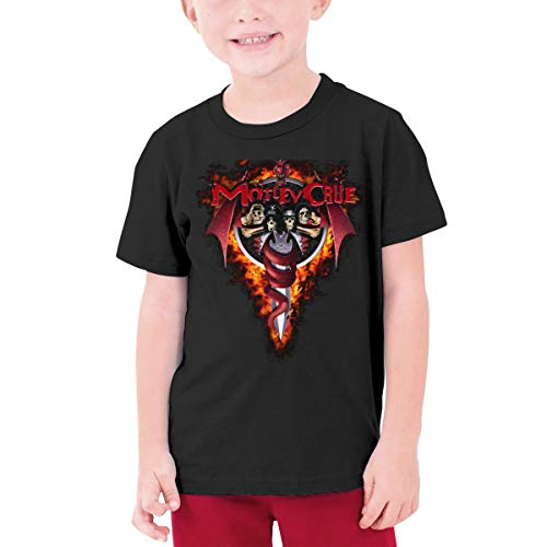 Youth T-Shirt Mot-Ley Hell On High Heels Crue Pattern Shirt Short Sleeve Cotton Graphic Tee for Girls Boys Black -