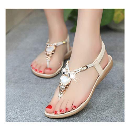 Flip Flops Casual Flat Sandals Fashion Women Shoes Owl 2019 Beach Sandals 42,Beige,4.5 (Newcastle Counter)