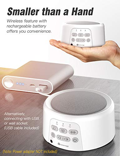 White Noise Machine - Dreamegg Rechargeable Sound Machine for Baby Adults Traveler, 24 Soothing Sounds,Auto-Off Timer, Portable Sleep Therapy Machine for Home Office Baby, Battery or USB Charging